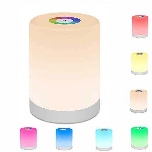 LED Nachttischlampe Touch Dimmbar Friendship Lamp Atmosphäre Tischlampe mit RGB Farbwechsel Touch Nachtlicht Stimmungslicht Schreibtischlampe für Schlafzimmer Wohnzimmer und Büro