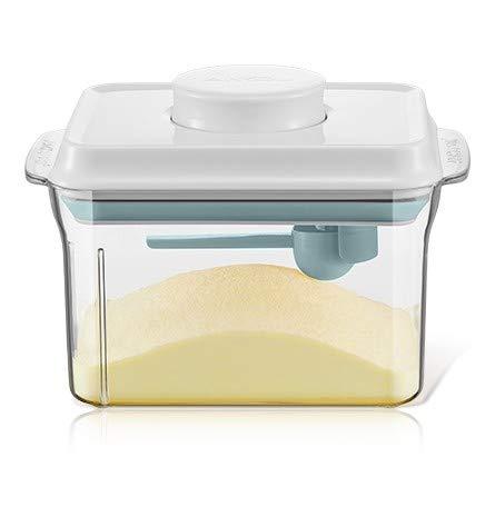 1000ML Luftdichte Milchpulver-Spender, Tragbarer Milchpulver-Kasten, Milchpulver Behälter mit Löffel, Einhandbedienung, Abnehmbar, zur Aufbewahrung von Baby Milchpulver, Obst und Lebensmitteln