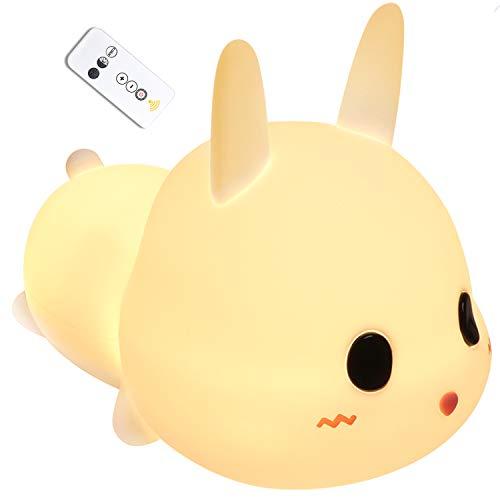 Nachtlichter, Nachtlicht für Kinder Wiederaufladbare USB Silikon Kinder Lampe Touch Control, dimmbar mit Warm-Licht Farbwechsel Modi für Kinder