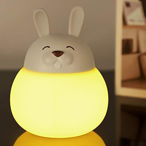 Opard Nachtlicht Kind, Baby Nachtlampe mit Touch Schalter,1h Timer Farbtemperatur 1800-6500K Touch Lampe, LED Nachtleuchte für Babyzimmer, Schlafzimmer, Wohnräume, Camping, Picknick (Weiß-Hase)
