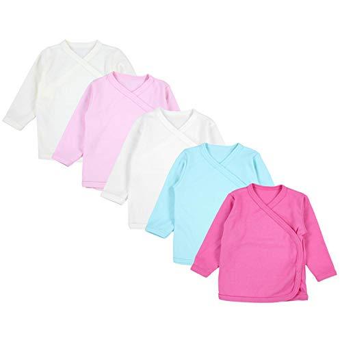 TupTam Unisex Baby Langarm Wickelshirt 5er Set, Farbe: Mädchen, Größe: 56