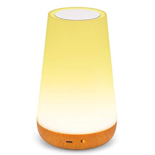 myourvann Nachttischlampe, LED Nachtlampe/Kinder Nachtlicht mit Fernbedienung,Touch Dimmer USB Aufladung für Schlafzimmer Camping