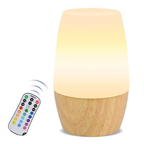 Nachttischlampe, Wiederaufladbares LED Nachtlicht mit Helligkeit Einstellbar & Holz Stille Lamp, 16 Farbmöglichkeiten, 4 Lichtmodi, Fernbedienung Tischlampe zum Lesen, Schlafen und Entspannen