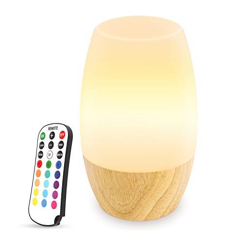 Danolt Nachtlicht Kind, Hölzernes Kinderzimmer Nachtlicht mit Fernbedienung für Kinder Schlafzimmer, 16 RGB-Farbwechsel, 4 Helligkeitsanpassung, 4 Lichtmodi, Silikon Nachtlampe mit EU Stecker.