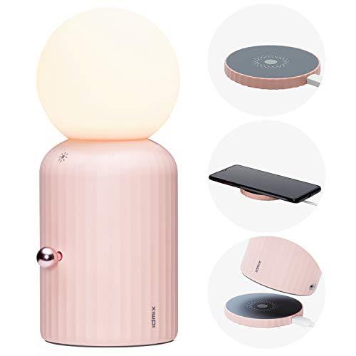 Nachtlicht, IDMIX Nachtlampe für Kinder Nachtlampe Stilllicht mit LED Lampe Dimmbares schlummerlicht mit USB Einladung/Kabellose Ladung