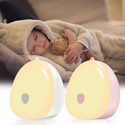 Jefshon LED Touch Nachtlicht für Baby 2 Stück, Kinder Nachttischlampe Dimmbares Schlummerlicht, Drei Farben Warmweiß & Weißes Licht & Kaltes Weiß, Wiederaufladbare Nachttischlampe für Kinderzimmer