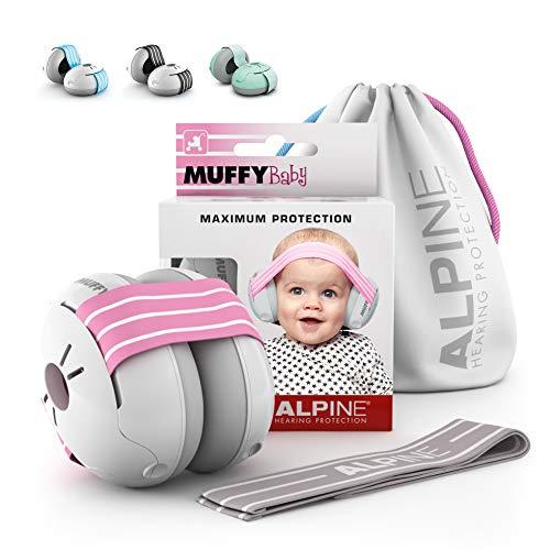 Alpine Muffy Baby Kapselgehörschützer Gehörschutz für Babys und Kleinkinder bis 36 Monate - Lärmschutz Verhindert Gehörschäden - Verbessert den Schlaf unterwegs - Bequeme Passform - Rosa