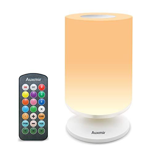 Auxmir LED Tischlampe, Dimmbar Atmosphäre Nachttischlampe mit Warmweißem Licht, 11 Farben und Farbwechsel, Berührungssensitives Nachtlicht für Schlafzimmer Wohnzimmer und Büro
