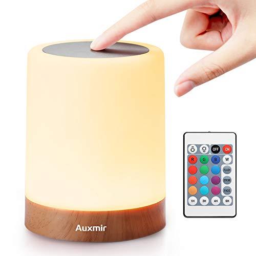 Auxmir LED Nachttischlampe, Dimmbar Atmosphäre Tischlampe für 13 Farben Tragbare Nachtlicht mit Fernbedienung, Warmes Weißes Licht und Farbwechsel für Schlafzimmer Wohnzimmer, Kinder/Erwachsene