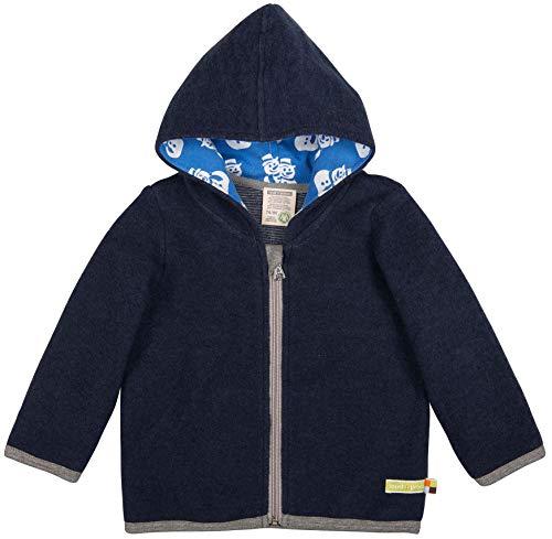 loud + proud Modische Baby Kapuzenjacke aus Bio Woll-Fleece mit Bio Baumwolle, Vorne mit Reißverschlussaus, GOTS Zertifiziert, Navy, 50/56