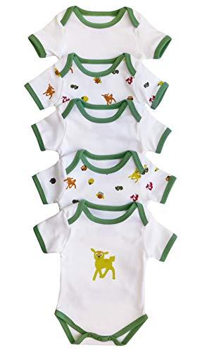 Baby Kurzarm-Body für Mädchen und Jungs aus 100% Baumwolle, 5er Pack in verschiedenen Designs