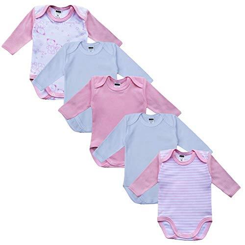 MEA BABY Unisex Baby Langarm Body aus 100% Baumwolle im 5er Pack, Baby Body mit Aufdruck, Baby Body für Mädchen, Baby Body für Jungen (56, Mädchen)