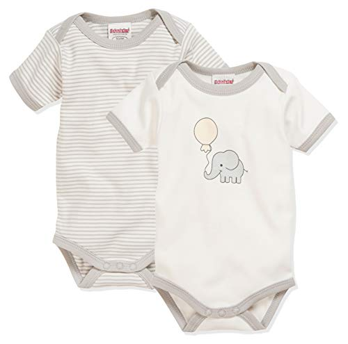 Schnizler Unisex Baby 1/4-arm 2er Pack Elefant Body, Beige (Natur 2), 50-56 EU
