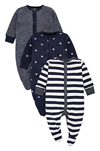 next Baby Jungen Schlafanzüge Streifenmuster/Sternenmuster 3Er Pack (0 Monate Bis 2Jahre) Marienblau/Weiß Hasta 1 Monat
