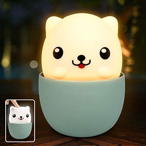 LED Nachtlicht Kinder Tragbare USB Silikon Nachtlampe für Das Lesen, Schlafen und Entspannen, Nachtleuchte Baby Touch Schalter für Schlafzimmer, Babyzimmer (Gelbes/Weißes Licht)