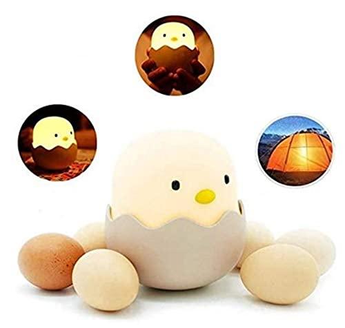 Silikon Touch Lampe für Kinder, Eggy Egg Schlummerlicht Nachtlicht Mellow Küken für Baby, Stilllicht Dimmbar, Silikon, 10.4 x 10.4x 11.8cm, Warmes Gelbes Licht