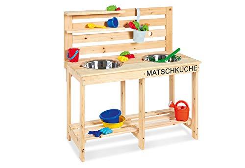 PINOLINO 221011 Matschküche Paul, unbehandelt, vollmassives Holz, Durchlass für einen Gartenschlauch in der Rückwand, für Kinder ab 3 Jahren