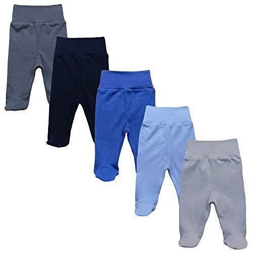 MEA BABY Unisex Baby Hose mit Fuß aus 100% Baumwolle im 5er Pack. Baby Stramplerhose mit Fuß. Babyhose mit Fuß Jungen Baby Hose mit Fuß Mädchen., 56 cm, Jungen