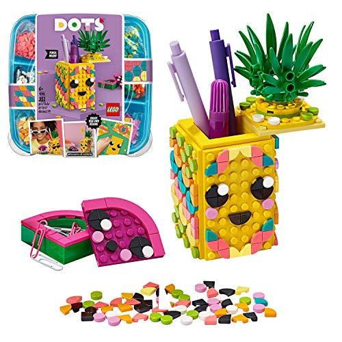 LEGO 41906 DOTS Ananas Stiftehalter Bastelset für Kinder, Kinderzimmer-Deko