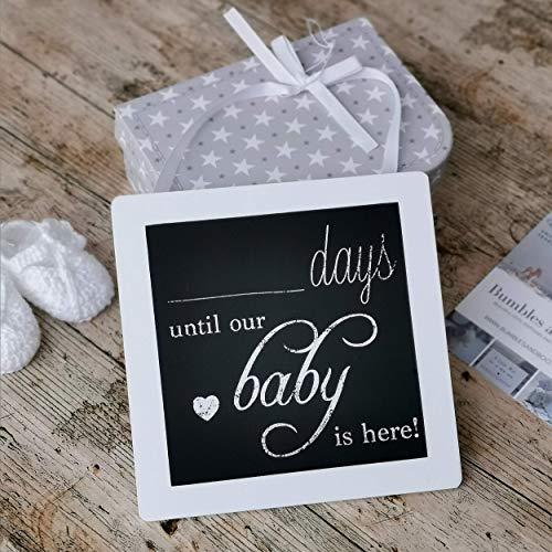 Personalisierte Schwangerschafts Countdown 'Days Until our Baby is here' Holz Tafel