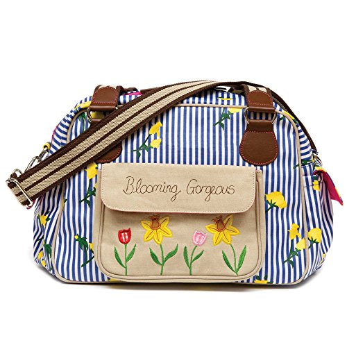 Pink Lining Wickeltasche (Blue Stripe and Yellow Rose)