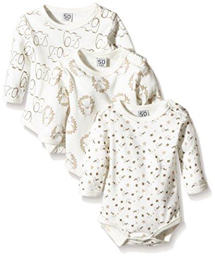 Care Unisex Baby Langarm-Body, 3er Pack, Elfenbein (Offwhite 200), 56 cm (Herstellergröße: 1 Monate)