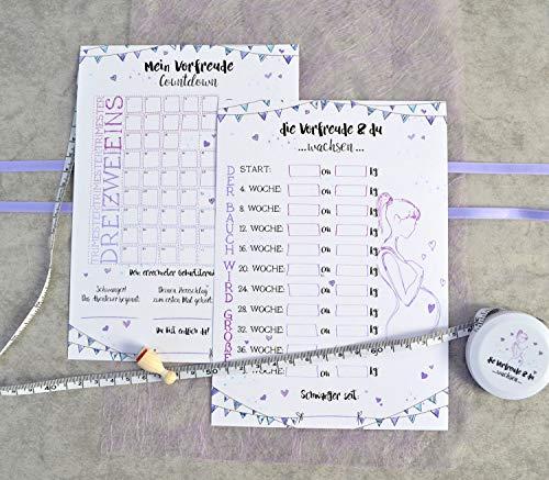 Schwangerschaft Set - der Bauch wächst - Bauchumfang Maßband, Countdown zum Stempeln, Button