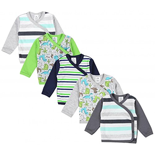 TupTam Baby Jungen Langarm Wickelshirt Baumwolle 5er Set, Farbe: Mehrfarbig 3, Größe: 56