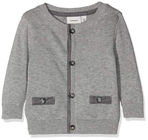 NAME IT Baby-Jungen Strickjacke NBMRISTER LS Knit Card, Grau (Grey Melange), 56