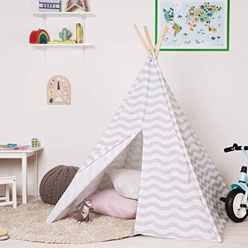 boppi Teepee Tipi Großes Spielzelt für Draußen und Drinnen, tragbar, aus Holz und Zelttuch, Indianerwigwam für Kinder, Spielhaus für Jungs und Mädchen - Grau