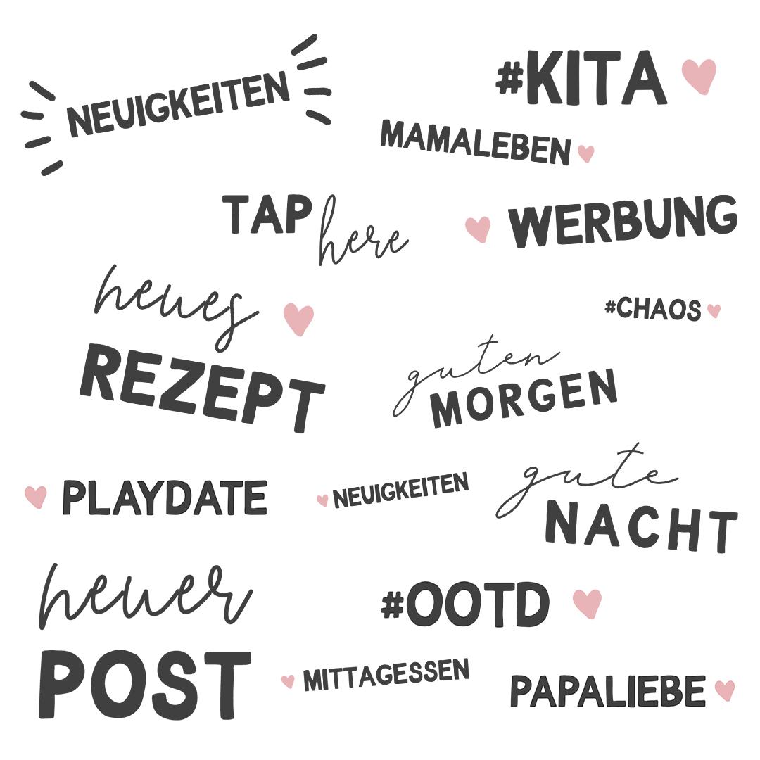Kostenlose Story Sticker zum Thema Familie und Kinder: Wörter